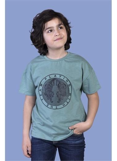 Toontoy Kids Toontoy Erkek Çocuk Kabartma Baskılı Tişört Yeşil